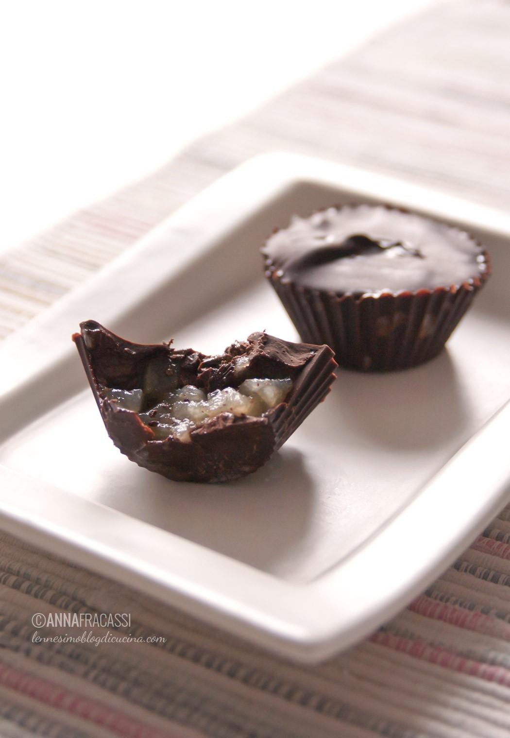 Cioccolatini fatti in casa alle pere e zenzero