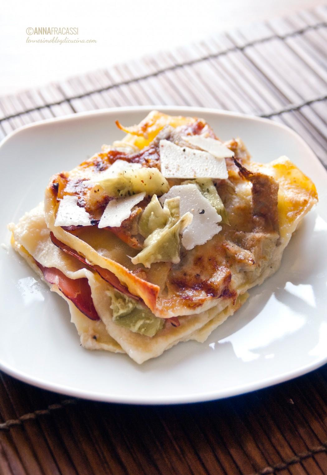 lasagne speck e carciofi