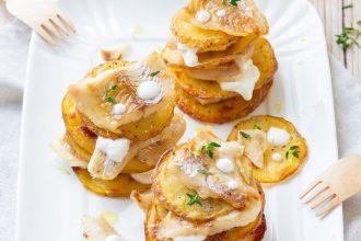 Millefoglie di merluzzo e patate al timo