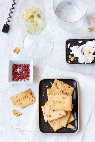 biscotti salati all'olio evo e pepe rosa