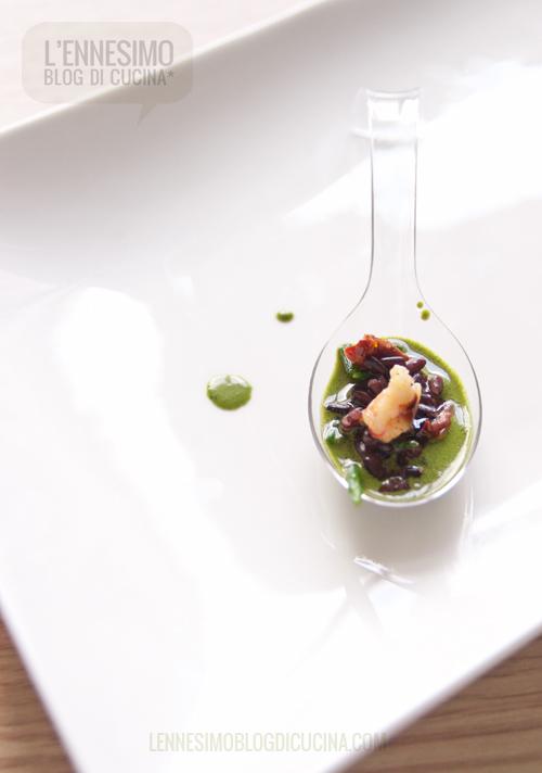 Riso venere, salicornia, mazzancolle e vellutata di basilico