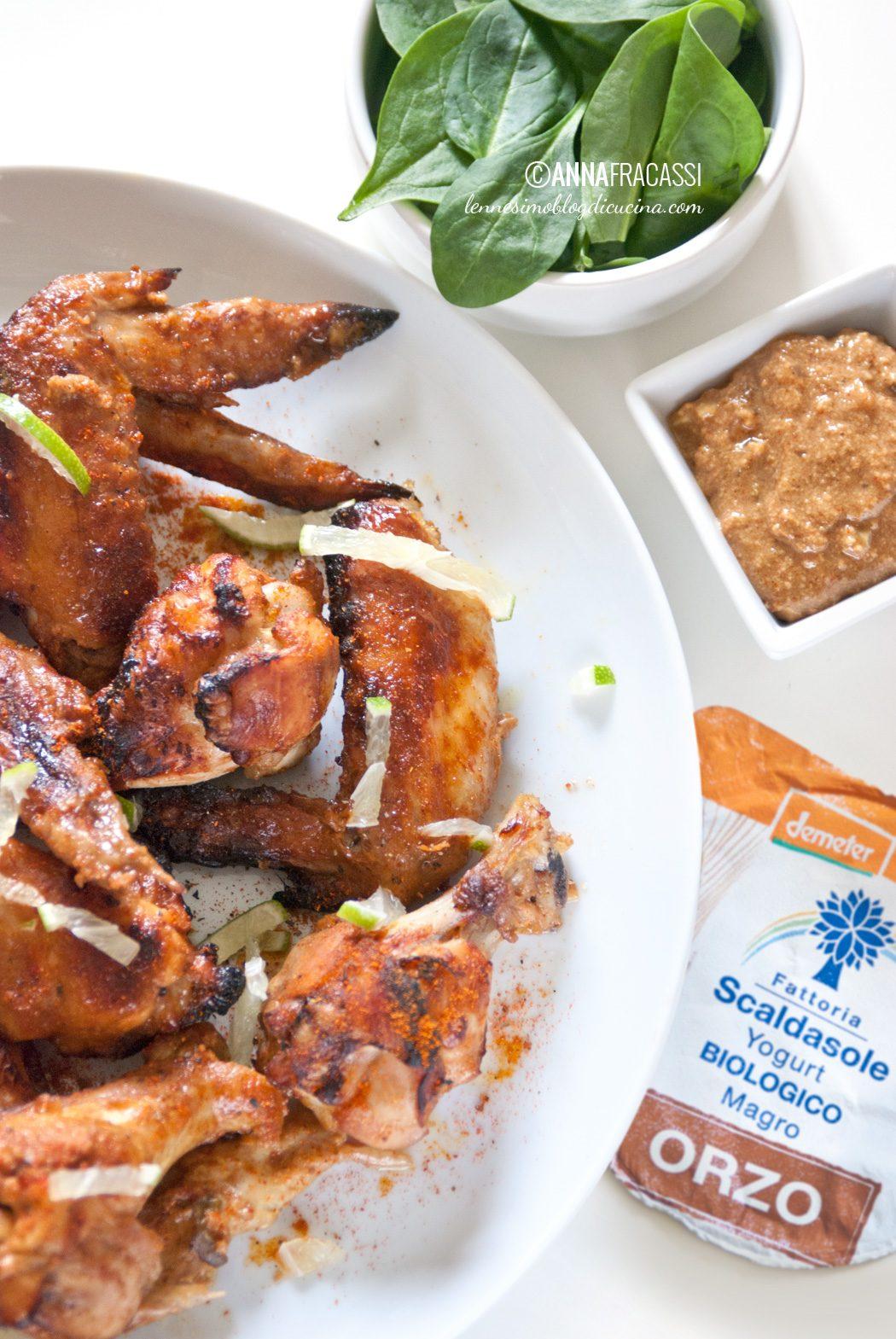 Alette di pollo tandoori con yogurt