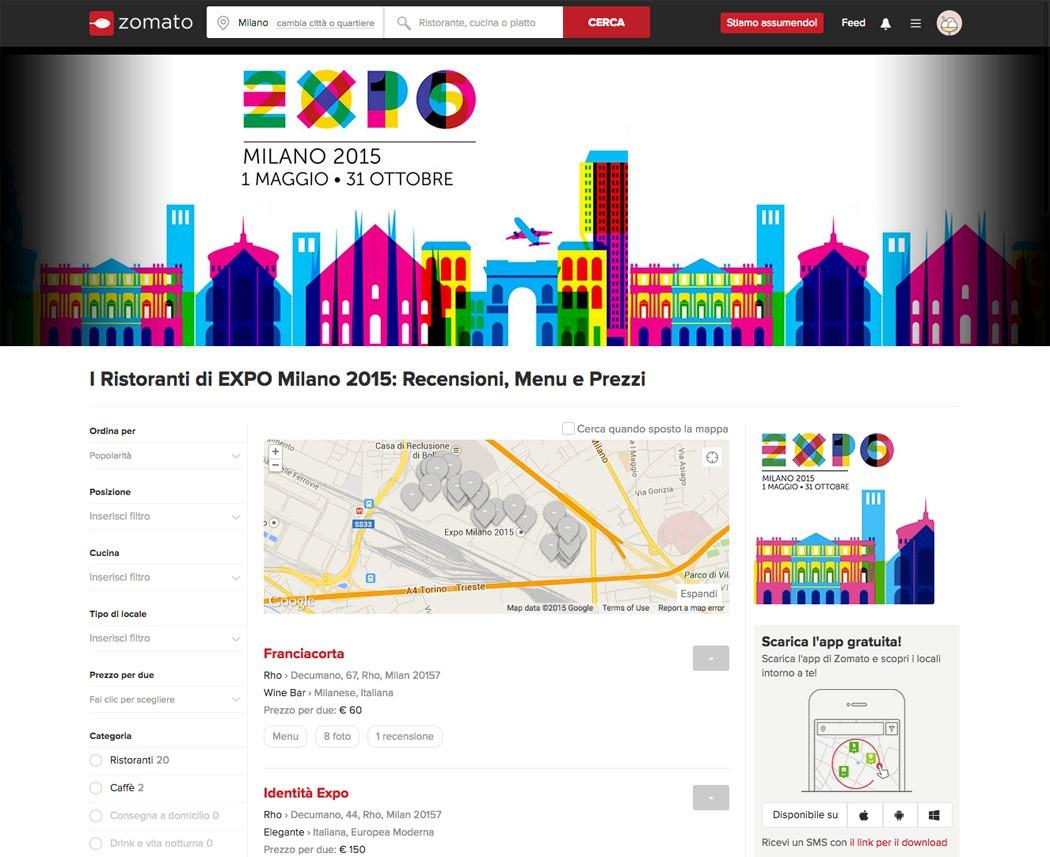 il minisito di Zomato dedicato a EXPO