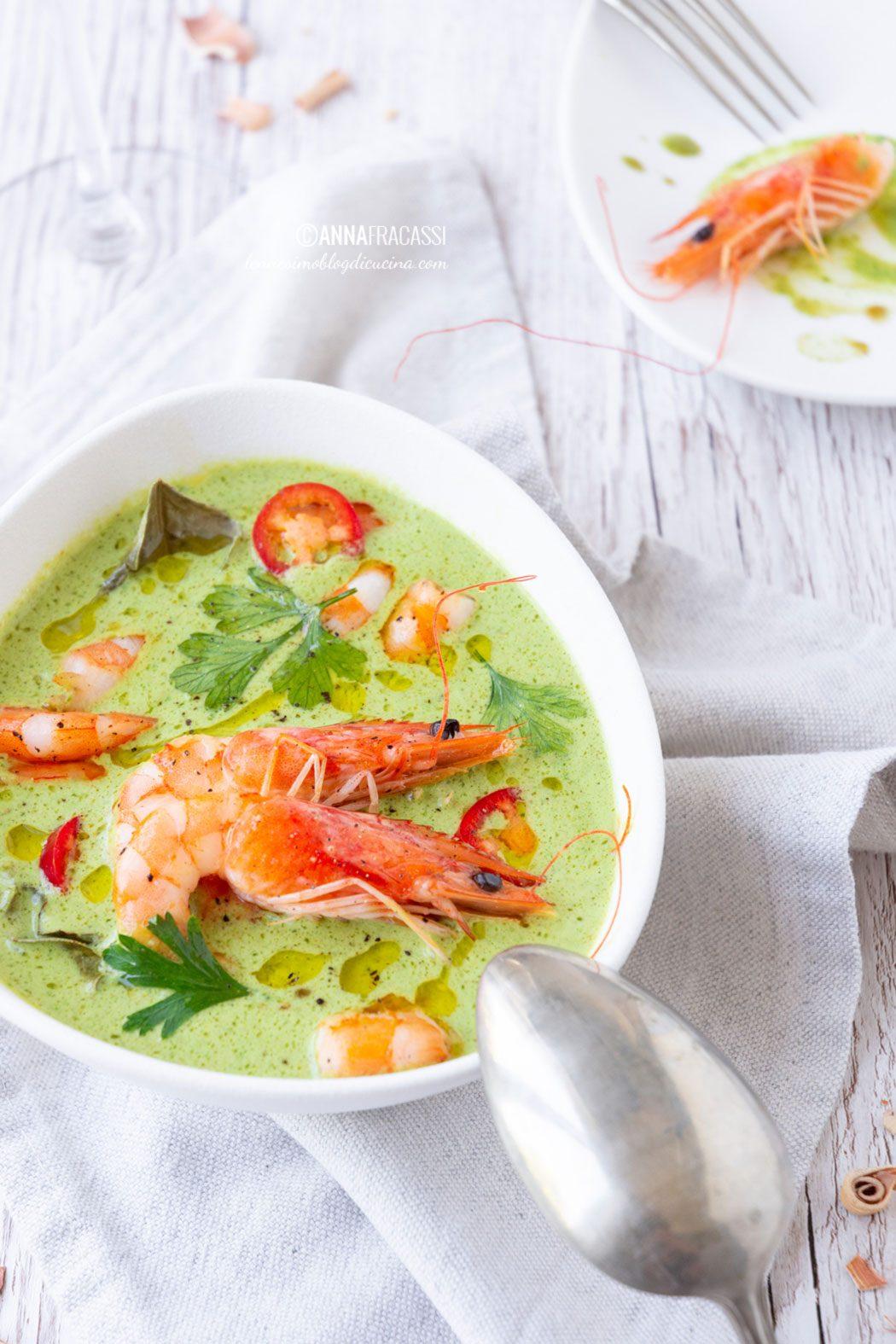 Curry verde thai di gamberi