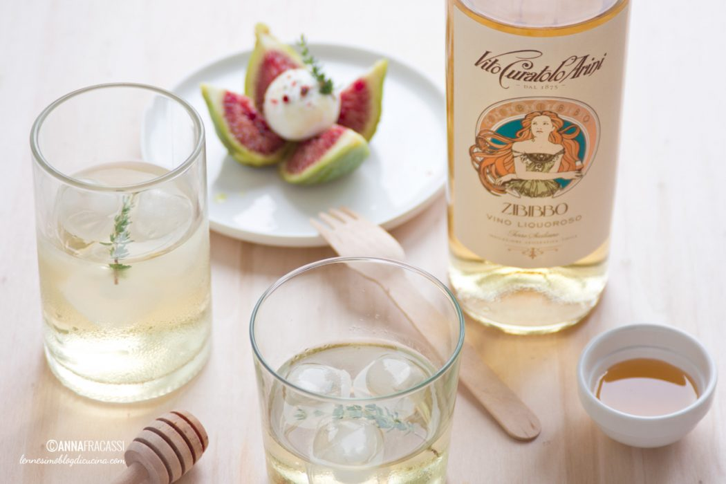 Zibibbo Cocktail con fichi, caprino e miele al timo