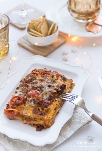 Lasagne vegetariane con ragù di lenticchie