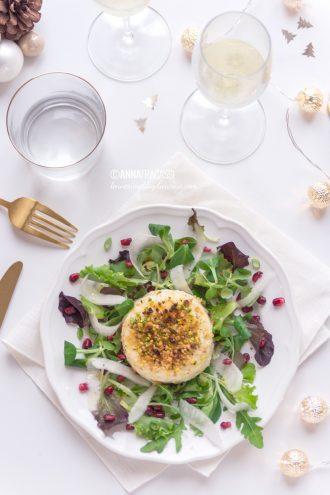 Primosale al forno in crosta di pistacchi con insalata invernale alla melagrana