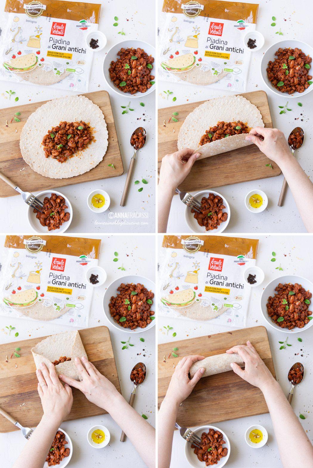 Il burrito italiano con piadina ai grani antichi e fagiolata