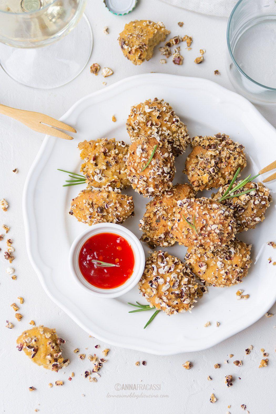 Nuggets di pollo alla paprika impanati nei pop corn