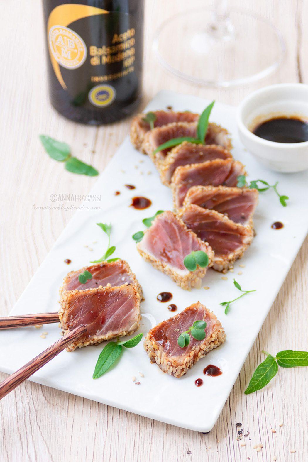 Tataki di tonno marinato con Aceto Balsamico di Modena