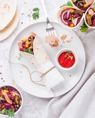 Burritos di tonno e fagioli