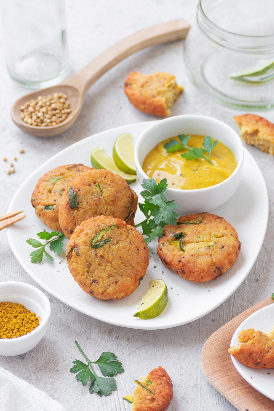 Crocchette di miglio, ceci e zucchine all'indiana